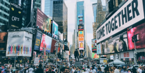 Times Square ads; pandemic marketing concept