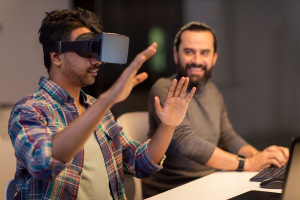 deadline, augmented reality and technology concept - creative man with virtual headset or 3d glasses at office